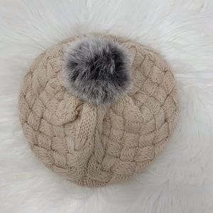 Stylish baby girl fur beanie
